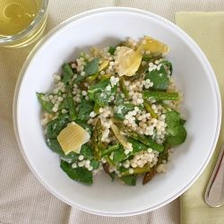 Israeli couscous salad with roasted asparagus, artichokes, and spinach ...
