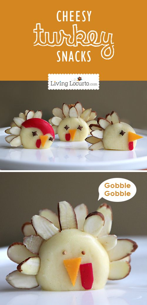 Turkey Cheese Snacks - Healthy Fun Food Idea for Kids ~ Says: Not only are these cute treats a fun idea to serve at Thanksgiving, but they are also a perfect kids activity or a fun and easy afternoon snack. Just think of all of the creative birds your kids would come up with!