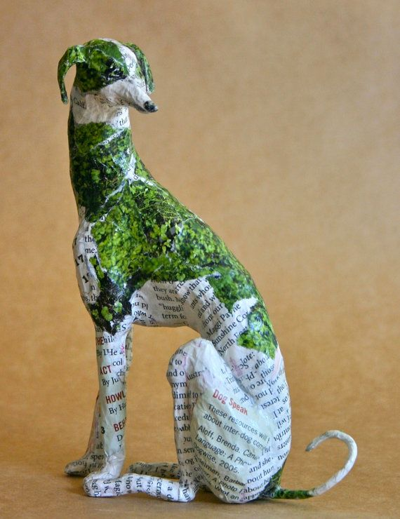 hound whimsical paper mache dog sculpture custom pieces