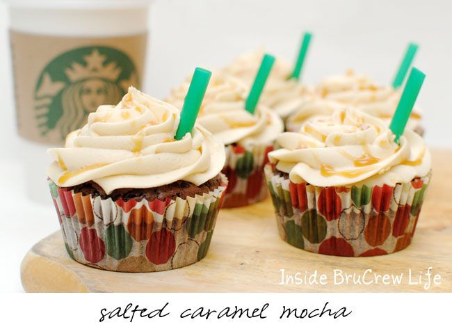 Recipes for Peppermint Mocha, Pumpkin Spice, Salted Caramel Mocha, Gingerbread Latte and Caramel Frappuccino cupcakes in one post.