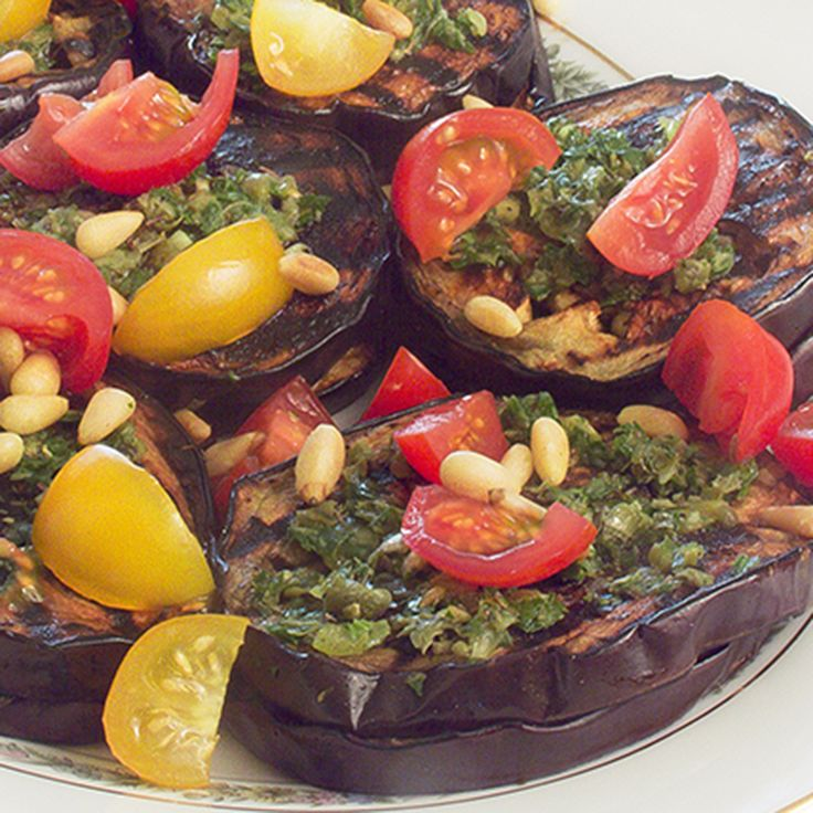 Grilled eggplant dipped in balsamic, sporting fresh parsley pesto with ...