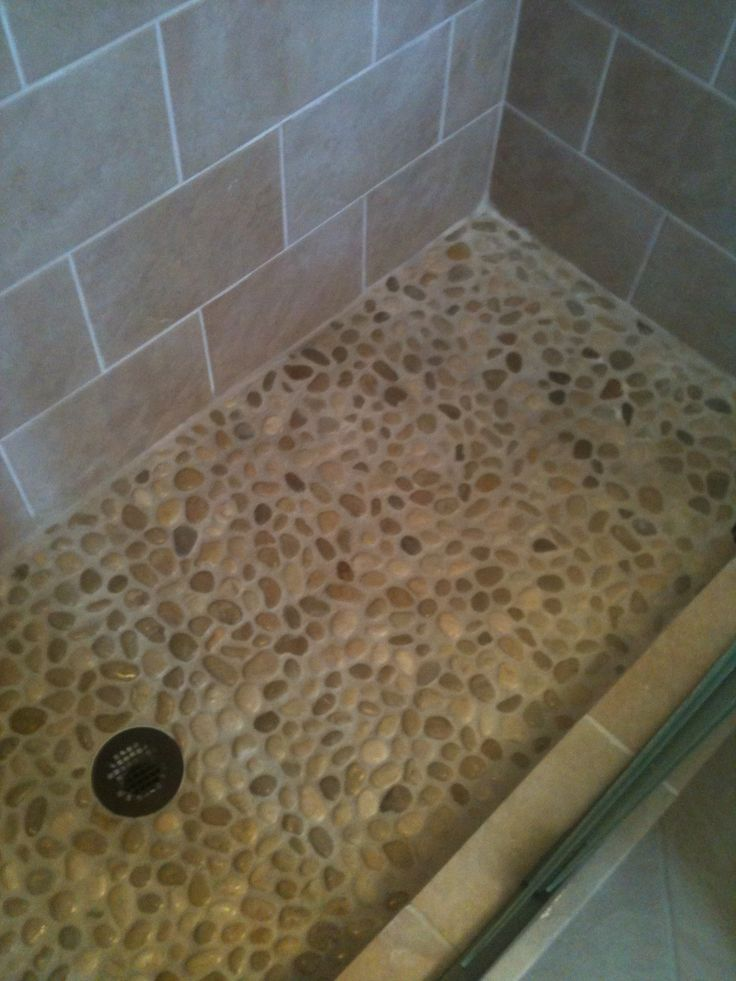 river rock shower floor shower ideas pinterest