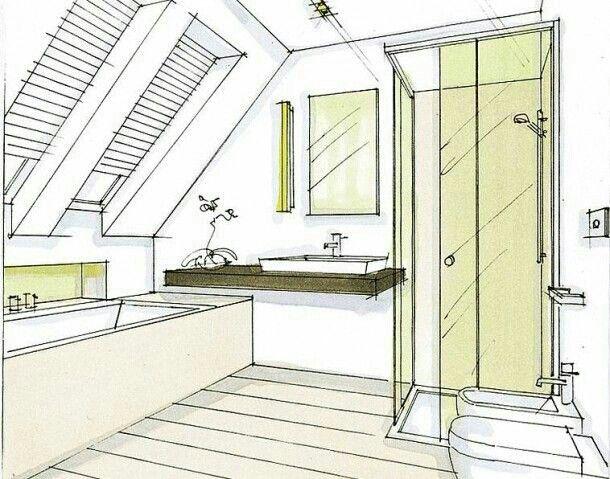 Indeling badkamer onder schuin dak  badkamer op zolder  Pinterest