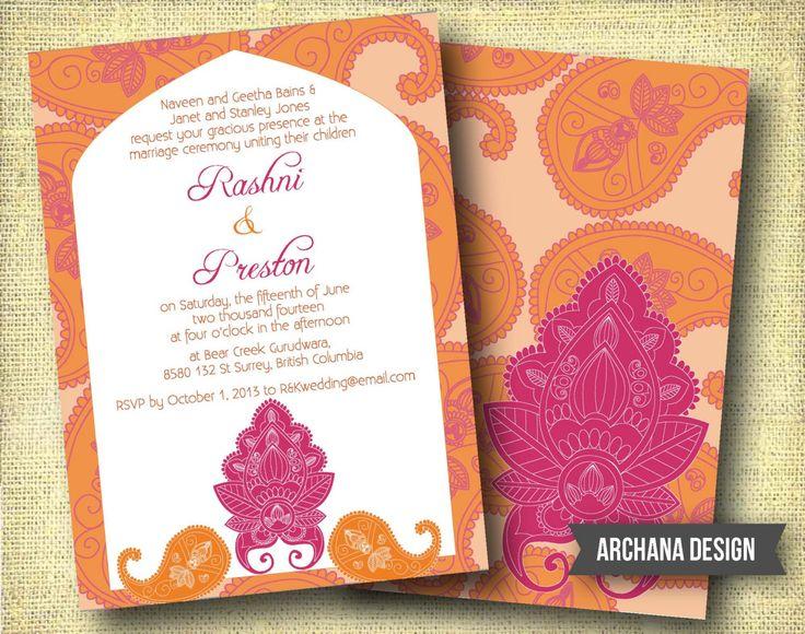 Indian wedding invitation custom diy digital pink orange for Digital wedding invitations