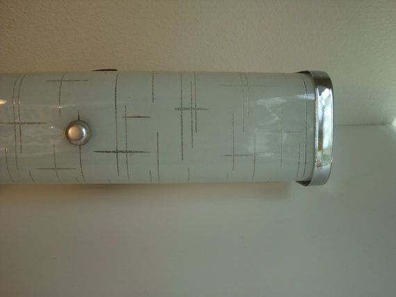 Vintage mid century bathroom frosted vanity light fixture for Retro bathroom light fixtures