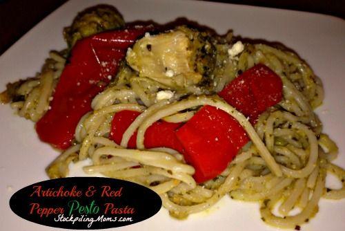 Artichoke & Red Pepper Pesto Pasta http://www.stockpilingmoms.com/2013 ...