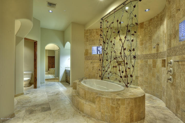 Unique Master Bath, love the vine detail!    {Luxury Rental - Scottsdale, AZ}