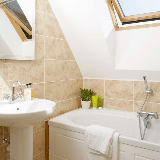 small bathroom, sloped ceiling  Slanted & Sloped Ceilings ...