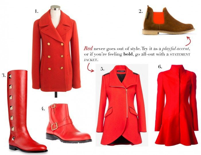 Red coats and shoes on Yo Deb http://blog.bungalowco.com/