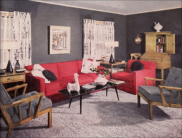 Red Couch Charcoal Walls Living Room Beautiful Homes Pinterest