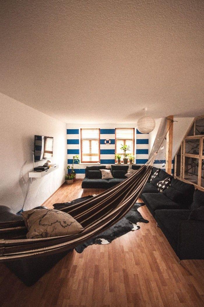 Living room with hammock precurs casetta pinterest for Living room hammock