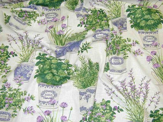Herb Garden French Linen Curtain Fabric White by themillshoponline, £ ...