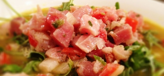 Ahi Tuna Ceviche Soup over Arugula | Yummy! | Pinterest