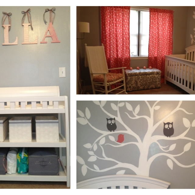 Baby girls room gray coral kiddies pinterest - Images of kiddies decorated room ...