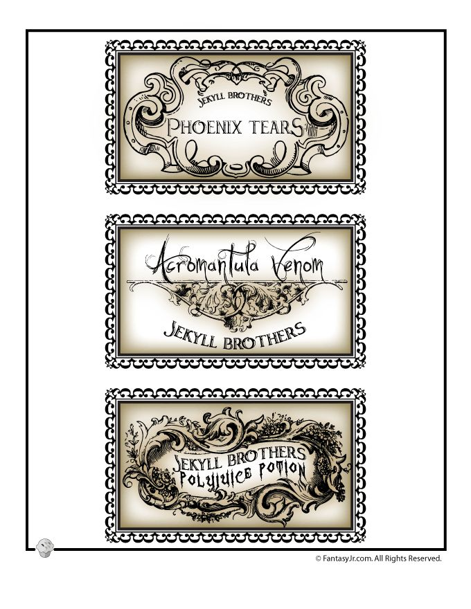 Harry Potter Printable Potion Labels