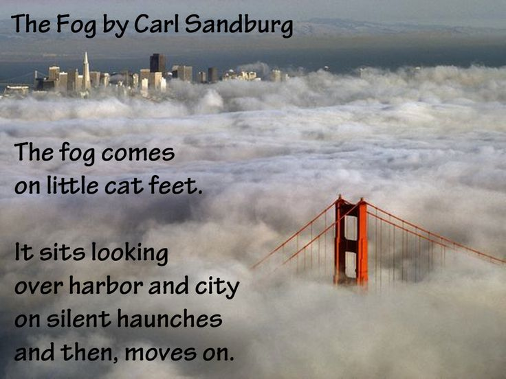 fog by carl sandburg The fog comes trying to write briefly about carl sandburg, said a friend of the poet, is like trying to picture the grand canyon in one black and white snapshot.