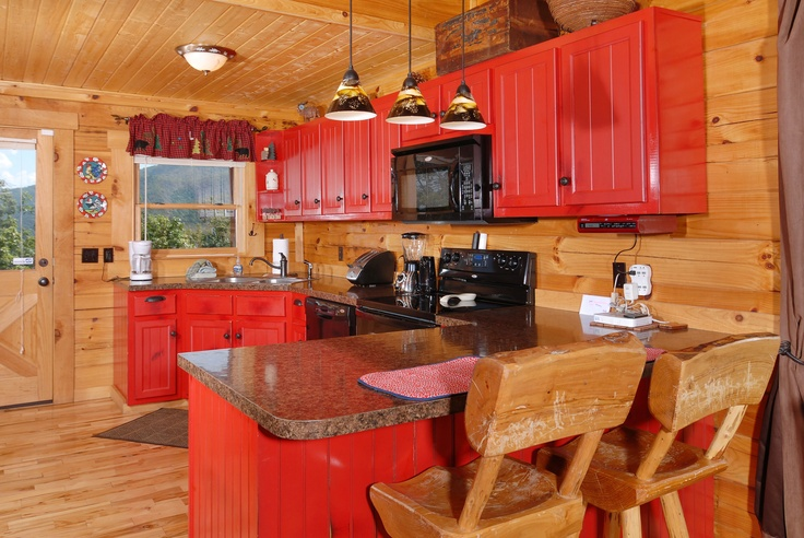 Pin by jeanie alviar on someday i want to see this yard for Log cabin kitchens and baths