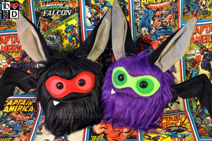 "Superhero Batty Bats: made from fake fur, felt, and velour, with posable wings. 10"" tall, 14"" wingspan"