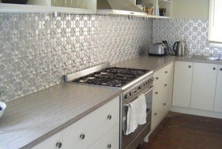 pressed tin backsplash decor kitchens pinterest
