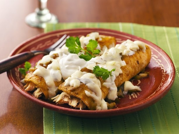 Enchiladas Verde, but i will be making my own green sauce :)