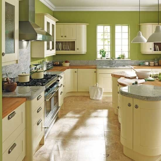 Country Style Kitchen - Green And Cream
