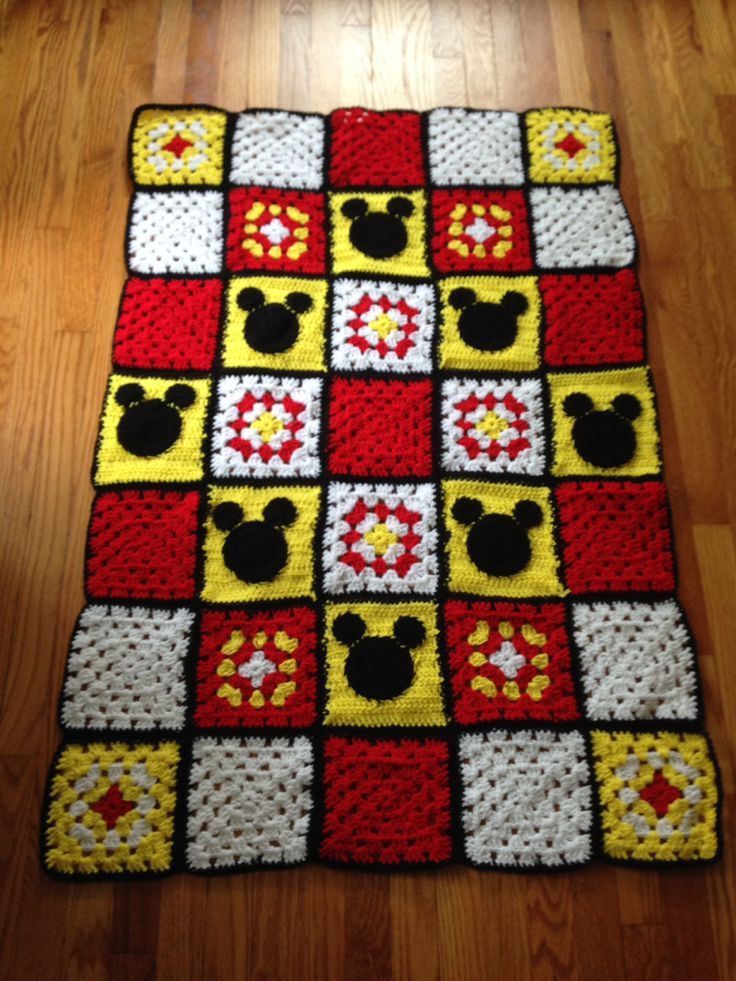 Mickey Mouse Crochet Baby Blanket Pattern : Mickey Mouse baby afghan #disney Crochet Pinterest