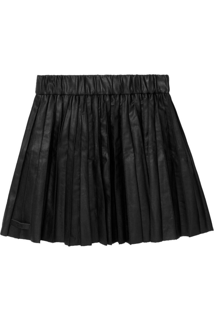 saatchi pleated faux leather mini skirt