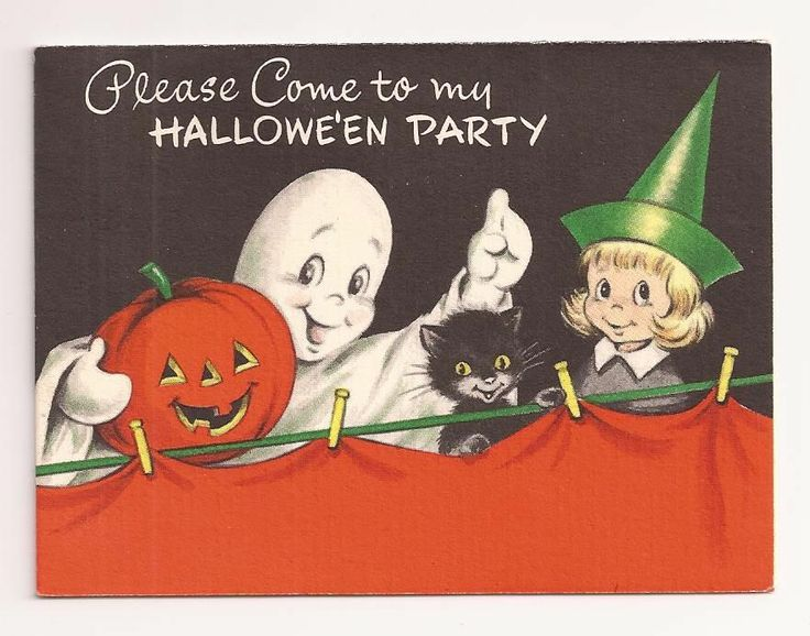Vintage 1950 39 s halloween party invitation card w ghost cat for Vintage halloween party invitations