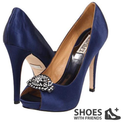 Badgley Mischka - Goodie navy blue heel with embellishments