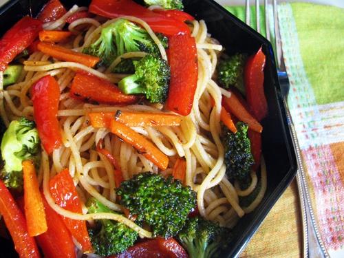 Vegetable Fried Noodles. I'll add some chicken or shrimp.