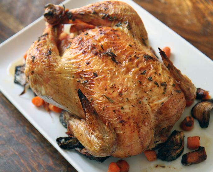lemon herb roasted chicken with carrots and fennel