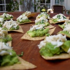 Crab and Avocado Dip on Tortilla Chips | yummy things | Pinterest