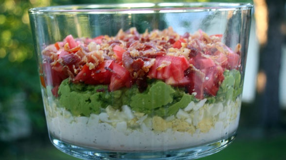Cobb Salad Layer Dip. I have a dish like this and am always looking ...