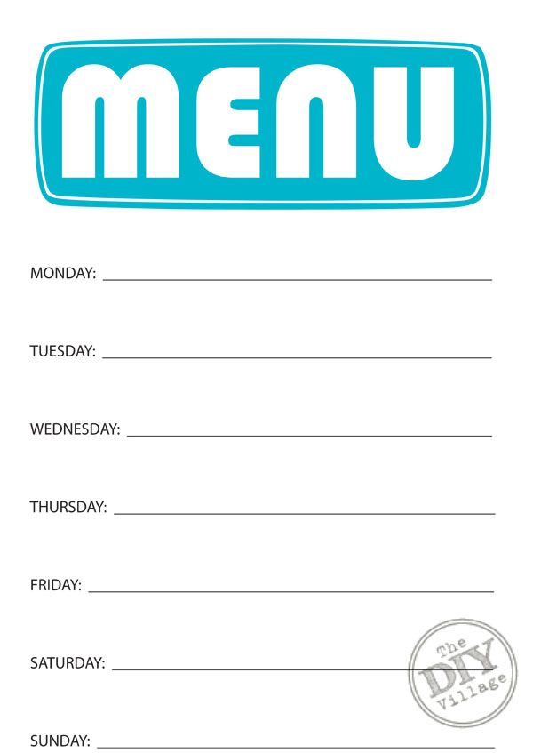 Printable Weekly Menu Planner...put it in a picture frame and use it ...