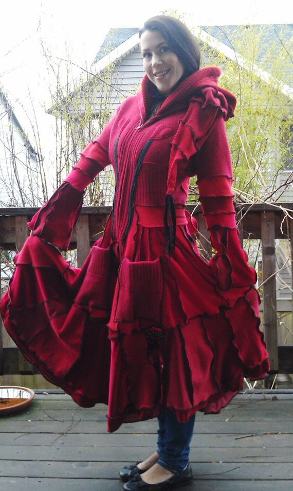 Red riding hood womens sweater coat repurposed from recycled sweaters