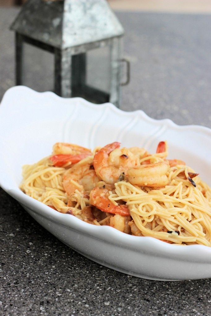 garlic oil & red pepper cappellini with grilled shrimp via kitchen ...