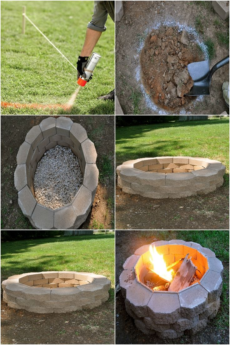 Diy backyard fire pit outside ideas pinterest for Diy patio fire pit