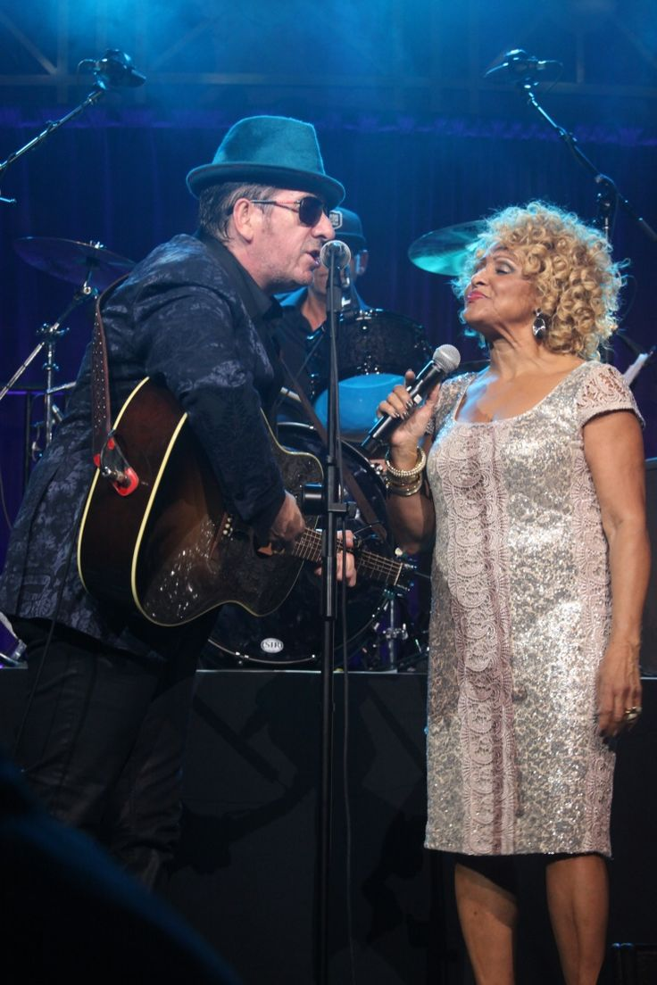 It's a lovefest. Elvis Costello pours some lovin' on honoree Darlene Love at the 2013 Right To Rock Benefit on Oct. 17 in New York