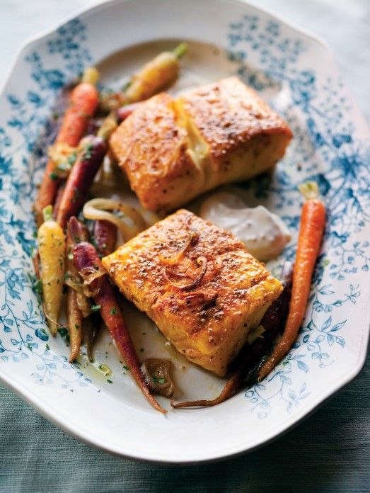 Seared Halibut with Coriander, Carrots and a Yogurt Sauce