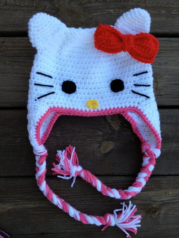 Crochet Kitty Hat : Hello Kitty Crochet Hat crochet hats Pinterest