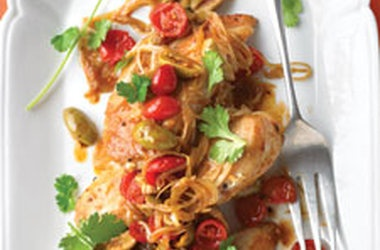 Chicken With Tomatoes, Olives, And Cilantro Recipe — Dishmaps