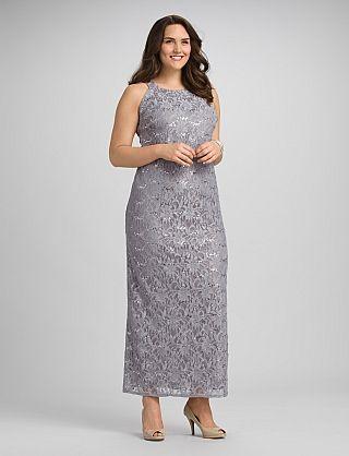 Plus Size Long Lace Shimmer Dress | Dressbarn