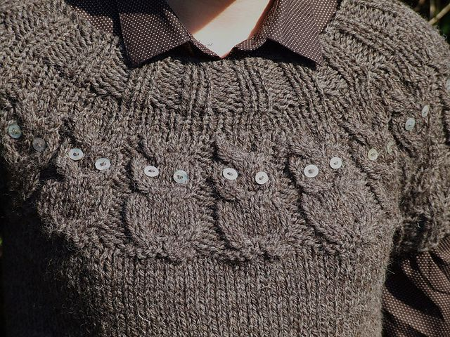 Owl Cable Knit Jumper Pattern Sweater Grey