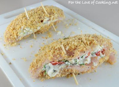... panko crusted chicken stuffed with ricotta spinach tomatoes and basil