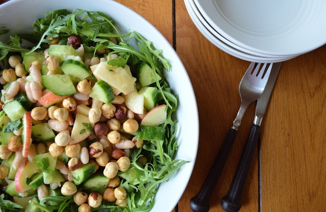 ... Veggie: Cucumber, Bean, Mint & Apple Salad with Roasted Hazelnuts GF