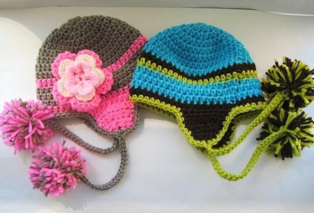 Crochet Hat Patterns Ear Flaps : Ear Flap Hat Pattern, All sizes Baby hats Pinterest