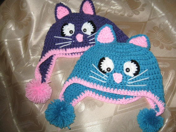 Crochet Cat Hat : Crochet Cat Hat Animal Beanie with Ear Flaps