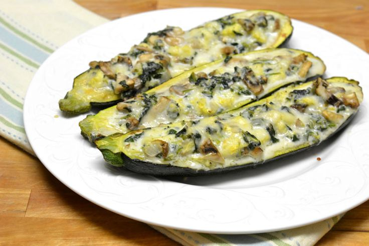 Spinach and Mushroom Stuffed Zucchini - Supper for a Steal