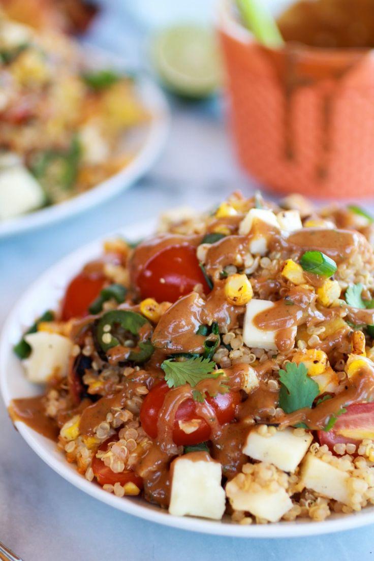 BBQ Grilled Corn, Jalapeño and Peach Quinoa Salad   Recipe