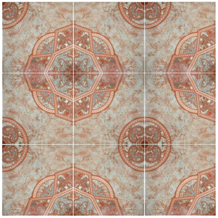 Red ceramic floor tile
